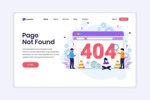 conceito de design da página de destino da página de erro 404 não encontrada com pessoas tentando corrigir o erro em uma página de tela da web. ilustração vetorial vetor