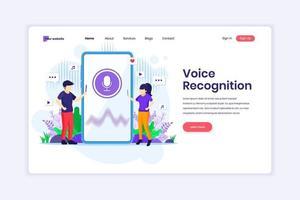 conceito de design de página de destino de reconhecimento de voz, identificação de segurança de voz. assistente de voz digital. ilustração vetorial vetor