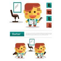 Carreira de barbeiro de design de personagens, vetor de ícone com fundo branco
