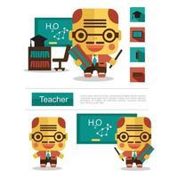 Carreira de professor de design de personagens, vetor de ícone com fundo branco
