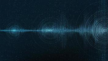 onda sonora digital escura sobre fundo azul, tecnologia e conceito de diagrama de onda de terremoto, design para estúdio de música e ciência, ilustração vetorial. vetor