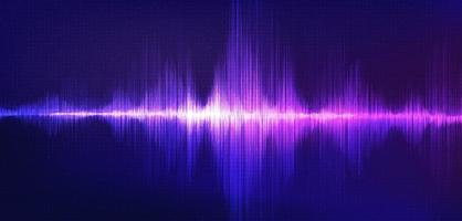 onda sonora de luz sobre fundo roxo, conceito de onda de tecnologia, design para estúdio de música e ciência, ilustração vetorial. vetor