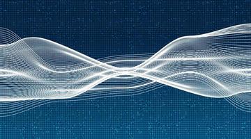 onda sonora digital dinâmica branca abstrata com vetor de fundo de tecnologia.
