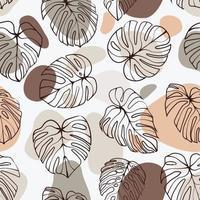 folha monstera deliciosa com padrão sem emenda de forma abstrata. perfeito para têxteis, tecidos, fundo, impressão vetor