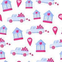 padrão sem emenda de caminhão com coração, geotag e casa para o casamento ou dia dos namorados. vetor