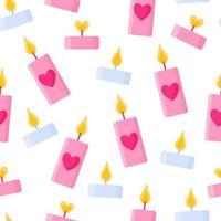 padrão sem emenda de velas com coração para o casamento ou dia dos namorados. vetor