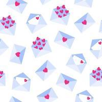 padrão sem emenda de cartas de amor em envelope para o casamento ou dia dos namorados. vetor