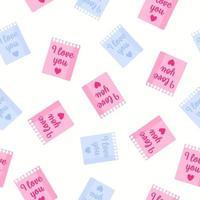 padrão sem emenda de folhas de bloco de notas com inscrições para o casamento ou dia dos namorados. vetor