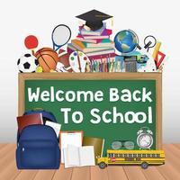 quadro negro de volta às aulas com ferramentas educacionais vetor
