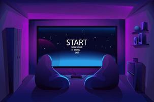 interior da sala de jogos. fluxo noturno. jogar videogames no console. grande tela de tv. duas poltronas. batalha. começar. ilustração vetorial. vetor