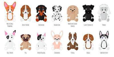 conjunto de desenhos animados de vetor de cães sentados de raças diferentes.
