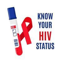 banner de vetor com uma fita vermelha, um tubo de ensaio com um exame de sangue para hiv e uma inscrição. conheça o seu estado de HIV.