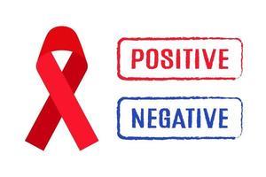 vector cartoon fita vermelha e sinetes positivos e negativos do resultado do teste de hiv. 1º de dezembro é o dia mundial da aids.