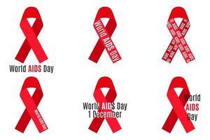 conjunto de vetores de fitas vermelhas com inscrições isoladas no fundo branco. SIDA e símbolo médico do hiv.