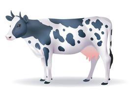 vaca preto e branco com fundo isolado. vetor eps 10