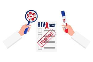 ilustração em vetor de um médico que segura um tubo de ensaio com um teste de HIV positivo para sangue, uma lupa e um resultado em branco