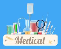 placa de madeira médica com equipamentos médicos vetor