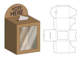 sorte desenhar caixa 3d maquete com dieline vetor