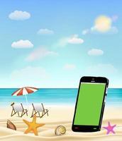 tela em branco do smartphone em uma praia de areia do mar com conchas, estrelas do mar e cadeira de praia vetor
