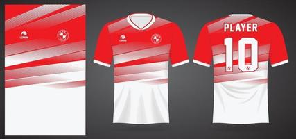 modelo de camisa esportiva branca vermelha para uniformes de time e design de camisetas de futebol vetor