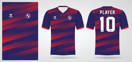 modelo de camisa esportiva azul vermelho para uniformes de time e design de camisetas de futebol vetor