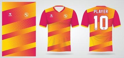 modelo de camisa esporte rosa amarela para uniformes de time e design de camisetas de futebol vetor