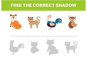 encontre o modelo correto de atividade animal sombra vetor