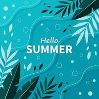 cartão de verão brilhante. lindo pôster de verão com folhas de palmeira e texto escrito à mão. cartões de férias de verão. ilustração vetorial vetor