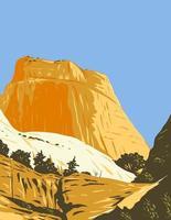 a montanha de cúpula de formação rochosa do trono dourado no parque nacional do recife de capitólio em wayne county utah arte do pôster wpa vetor