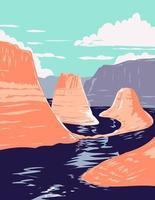 lago powell e canyon de reflexão em glen canyon área de recreação nacional utah estados unidos da américa arte do pôster wpa vetor