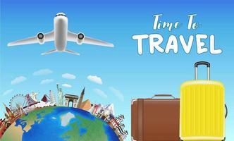 hora de viajar com bolsa e objetos de viagem pelo mundo vetor