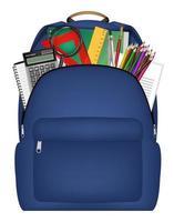 mochila de estudante com ferramentas de estudo dentro vetor