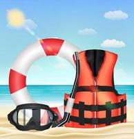 máscara de mergulho, snorkel, colete salva-vidas e toro de segurança vetor