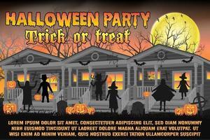 pôster da festa de halloween com crianças em fantasias de halloween vetor