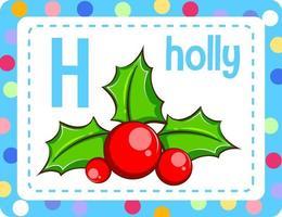 cartão flash do alfabeto com a letra h para azevinho vetor