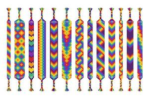 conjunto de vetores de pulseiras de amizade feitas à mão de fios isolados no fundo branco. parada do orgulho, lgbt e amor livre.