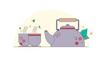 Vetor de chá japonês
