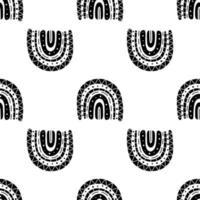 padrão sem costura preto e branco de arco-íris boho vetor