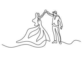 contínuo um desenho de linha de dança de casal isolado no fundo branco. homem com smoking e mulher com vestido elegante, fazendo design de minimalismo de dança romântica. ilustração de desenho vetorial vetor