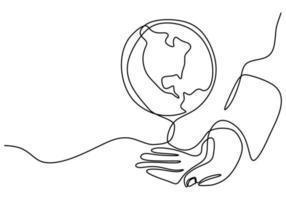 contínuo um desenho de linha de mãos segurando um globo terrestre isolado no fundo branco. tema do dia da terra. uma mão humana segurando o projeto do esboço desenhado do mundo planeta Terra contorno mão. ilustração vetorial vetor