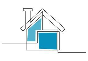 desenho de linha contínua de casa com chaminés. conceito de minimalismo isolado de construção de casa arquitetônica isolado no fundo branco. casa de campo. design minimalista imobiliário. ilustração vetorial vetor