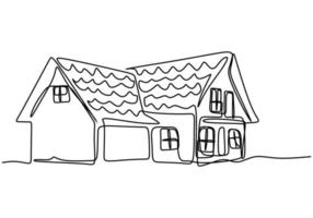único desenho de linha de uma casa com dois andares. construção de casa construção isolada doodle conceito mínimo. tema casa exterior desenhar ilustração vetorial de design gráfico em fundo branco vetor