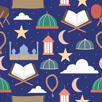 feliz eid mubarak. ramadhan coisas padrão sem emenda isolado em fundo azul marinho. conceito de festival sagrado ramadhan. mês sagrado islâmico, ramadan kareem, celebração da festa iftar. desenho vetorial plana vetor