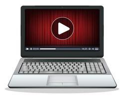 laptop com multimídia tocando em uma tela vetor