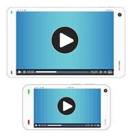 smartphone e tablet com mídia sendo reproduzida em uma tela vetor