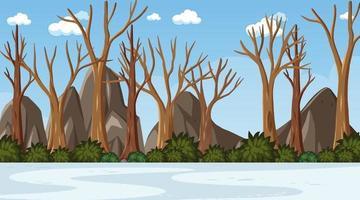 cena de inverno em branco com muitas árvores secas da floresta vetor