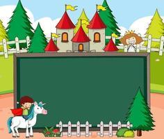 banner quadro-negro vazio na cena da floresta com personagens e personagens de desenhos animados de contos de fadas vetor