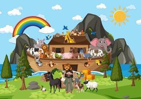 cena natural ao ar livre com arca de noé com animais vetor