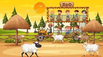 safári na hora do pôr do sol com muitas crianças assistindo um grupo de ovelhas vetor