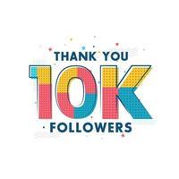 obrigado celebração de 10 mil seguidores, cartão de felicitações para 10 mil seguidores sociais. vetor